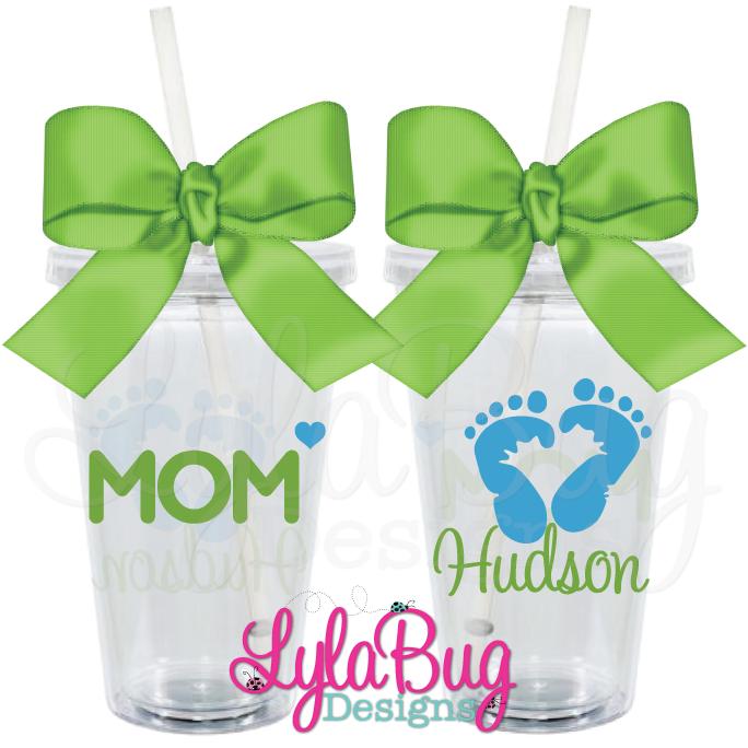 Mom Baby Feet Tumbler New Mom Baby Shower Gift LylaBug Designs