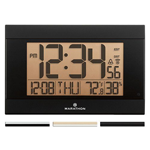 Marathon Cl030052bk Atomic Digital Wall Clock With Autonight Light Temperature Humidity Batteries Included You Can Get Atomic Wall Clock Clock Wall Clock