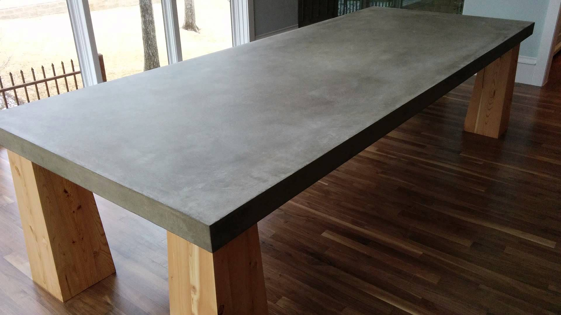 Gather Around A Cement Table Top In Dallas Tx Concrete Table Cement Table Concrete Table Top