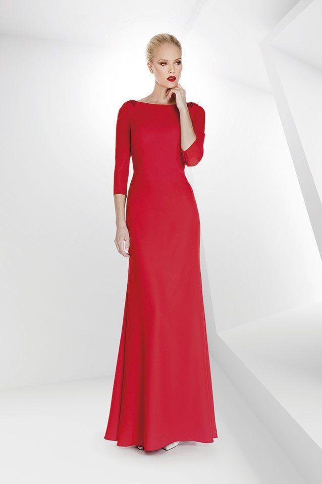 Vestido De Madrina Largo Color Rojo Modelo 1170112 Vestido