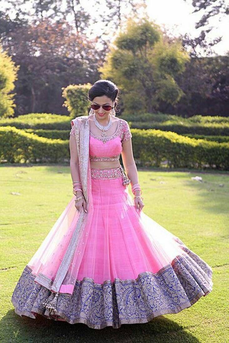 Pink bhgalpuri silk embridered unstitched lehenga choli