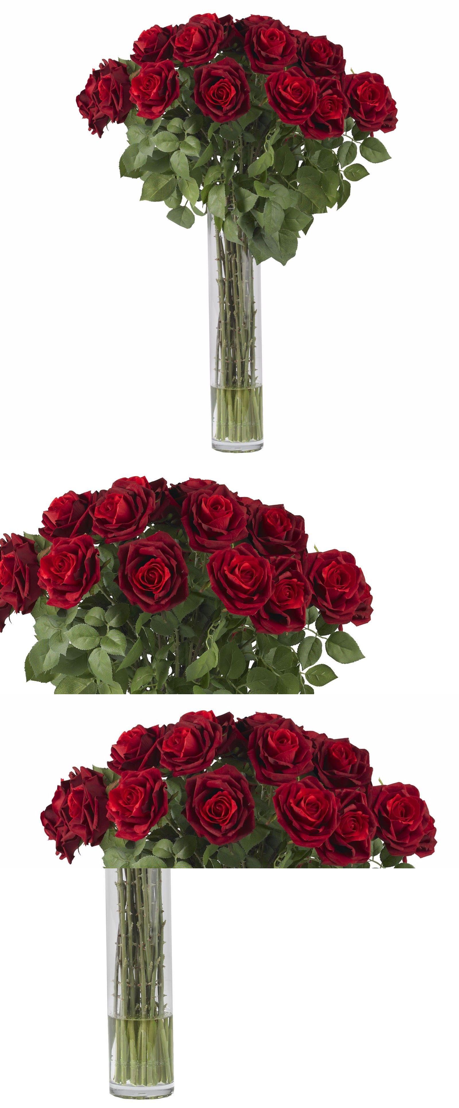Silk Flowers 16494 Large Rose Silk Flower Arrangement With Vase