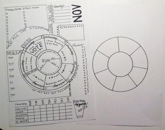 Unique Wheel Calendar for Bujo, Printable Inserts - Bullet Journal - circular calendar