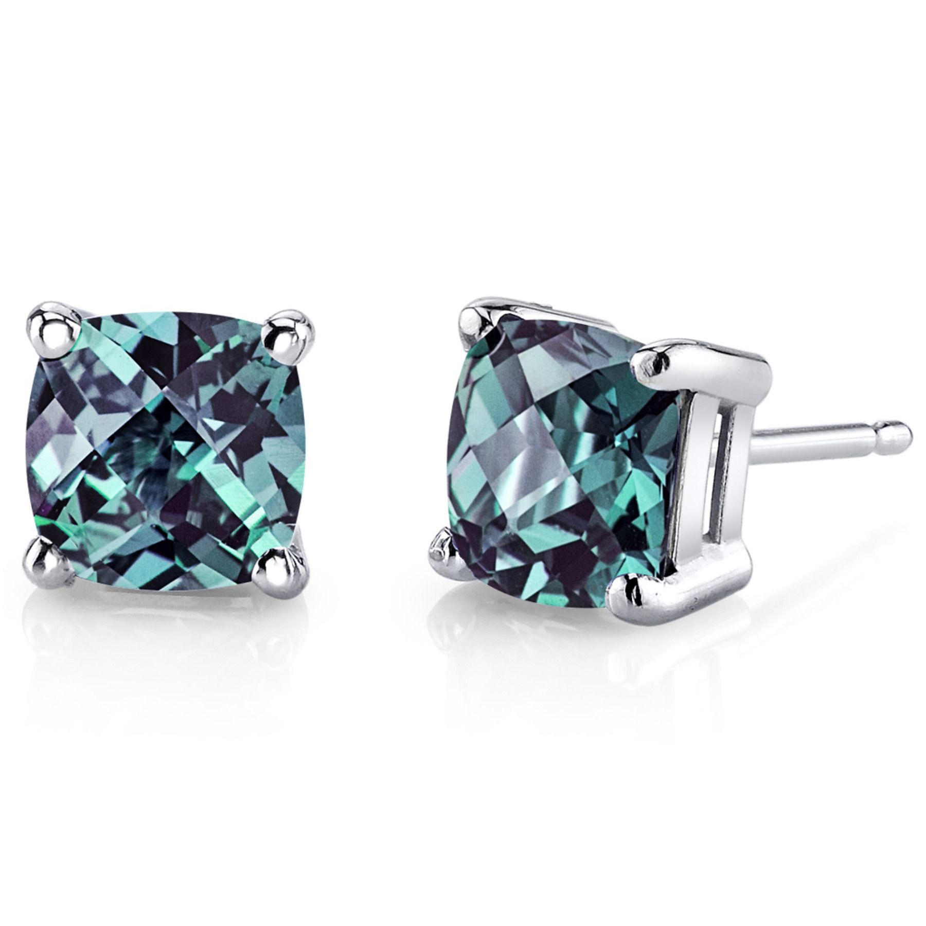 stud ladies earrings white diamond alexandrite natural gold