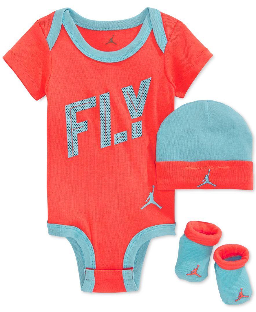 Baby Boy Jordan Clothes Jordan Baby Girls' 3Piece Fly Bodysuit Hat & Booties Set  Baby