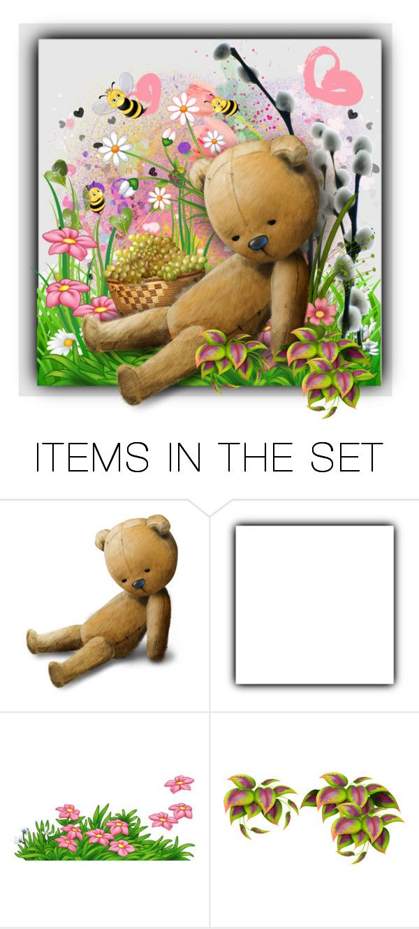 """""""Bear, Hearts and Flowers"""" by kathy-martenson-sanko ❤ liked on Polyvore featuring art"""