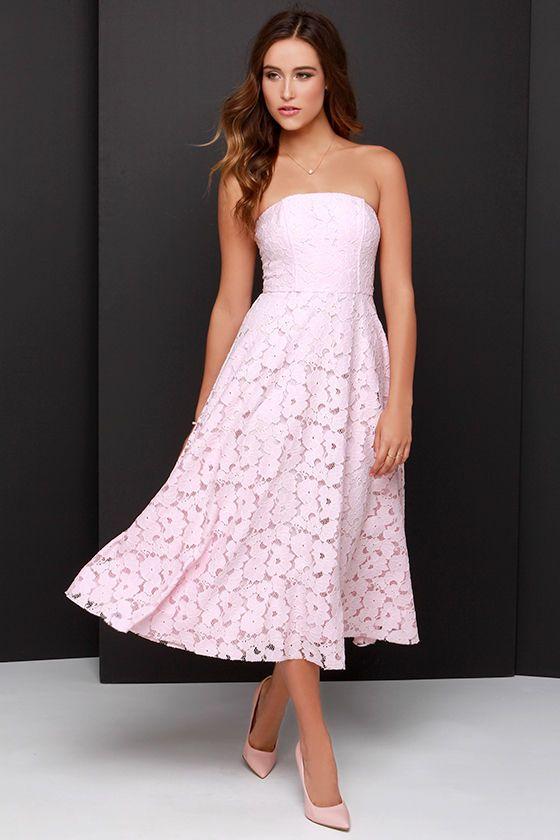 BB Dakota Alva Light Pink Strapless Lace Midi Dress | Lace midi dress