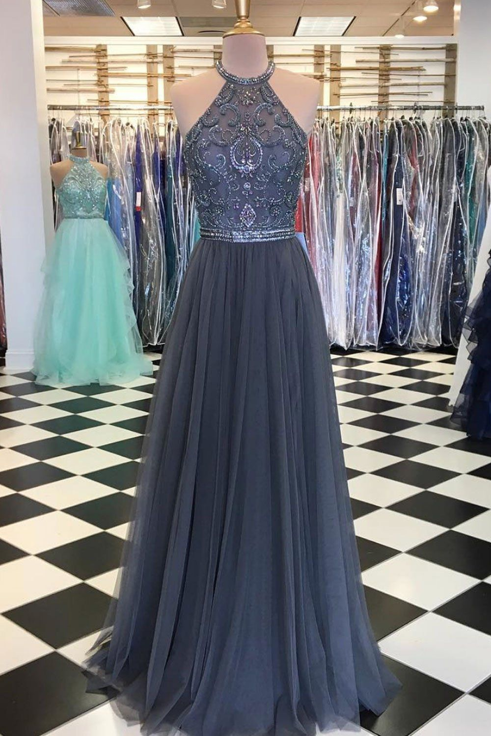 Unique tulle lace applique long prom dress tulle evening dress in