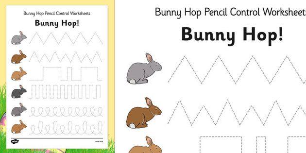 bunny hop pencil control worksheets easter fine motor skills colouring handwriting. Black Bedroom Furniture Sets. Home Design Ideas