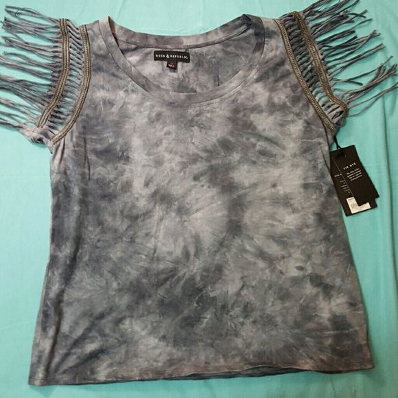 Rock & Republic tie dyed fringe top NWT Rock & Republic. Fringe arms. New with tags. Medium. 3.1 Phillip Lim for Target Tops Blouses