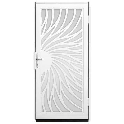 unique home designs 36 in x 80 in solstice white surface mount steel security door with shatter resistant glass and nickel hardware powder coat white. Interior Design Ideas. Home Design Ideas