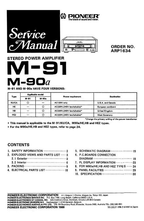 d4c75ed476f81eac2dbad6c604544948 pioneer m 90a & m 91 power amplifier , service manual 100 per cent honda pioneer 1000 parts diagram at gsmx.co