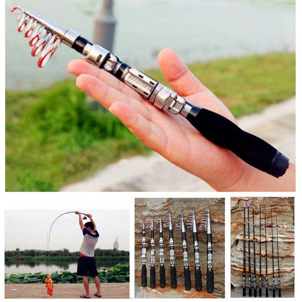 Carbon Fiber Telescopic Pocket Fishing Rod Travel Spinning Pole Mini Travel