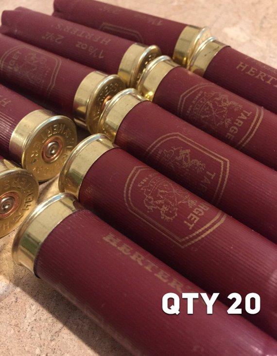 Dark Red Burgundy Empty 12 Gauge Shotgun Shells Used Casings