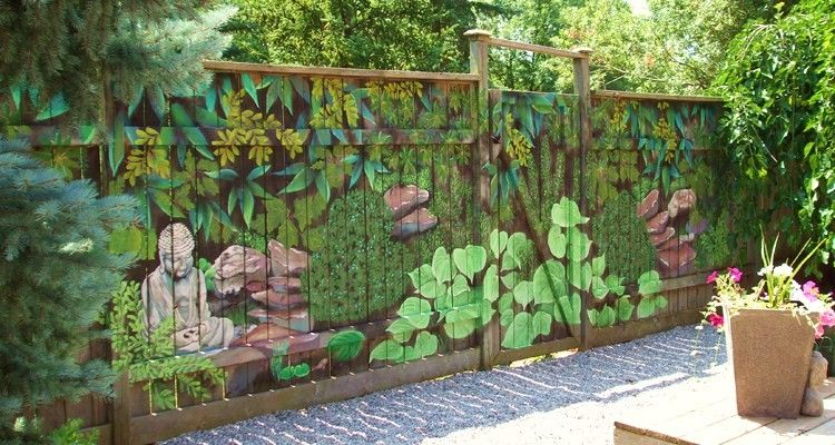 Diy Garden Ideas Garden Mural Backyard Fences Fence Decor