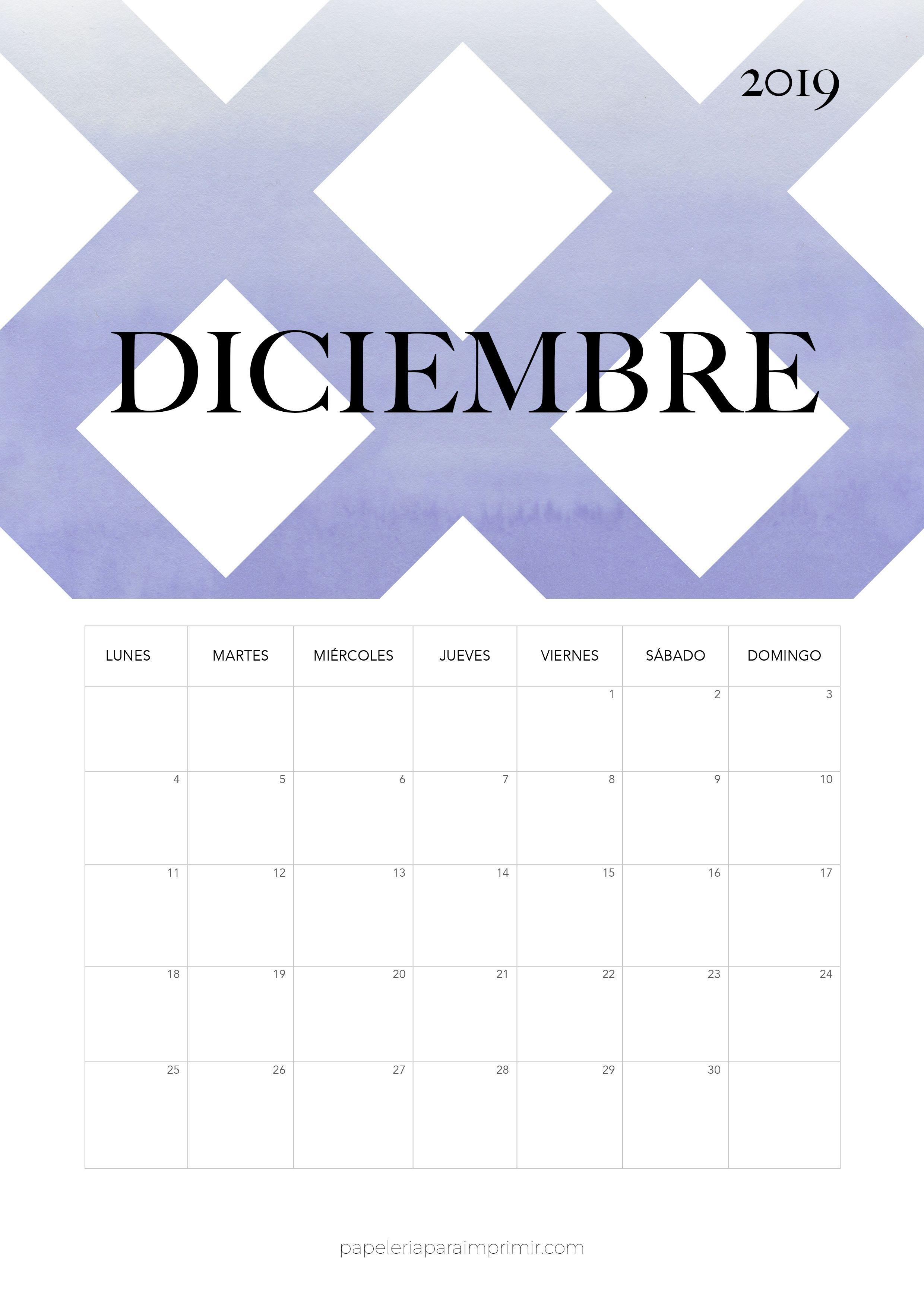Calendario 2019 Moderno.Calendario 2019 Diciembre Calendario Mensual Moderno De