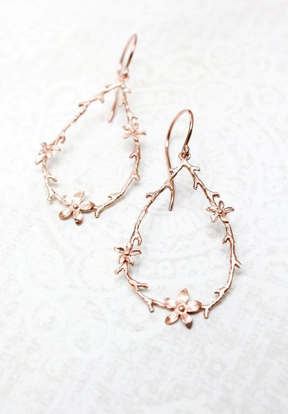 Twig And Flower Earrings Pink Gold Branch And Blossom Earrings Flower Hoops Bridal Jewelry Bridesmaids Gift Larg Jewelry Big Dangle Earrings Rose Gold Earrings