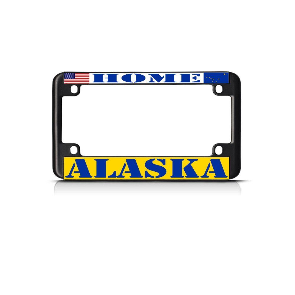 License Plate Frame Mall - ALASKA HOME Black Motorcycle Bike Heavy ...