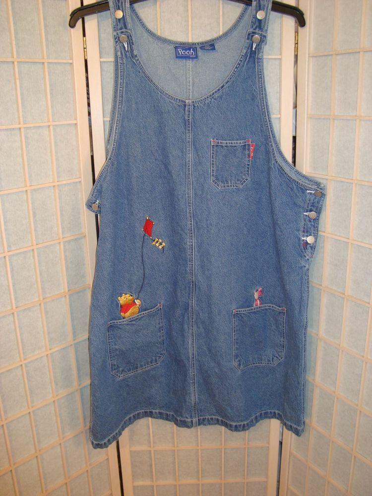 ff79365b69d Retro Disney Sz 22W Winnie The Pooh   Piglet Embroidered Blue Denim Jumper  Dress  Disney  JumperDress