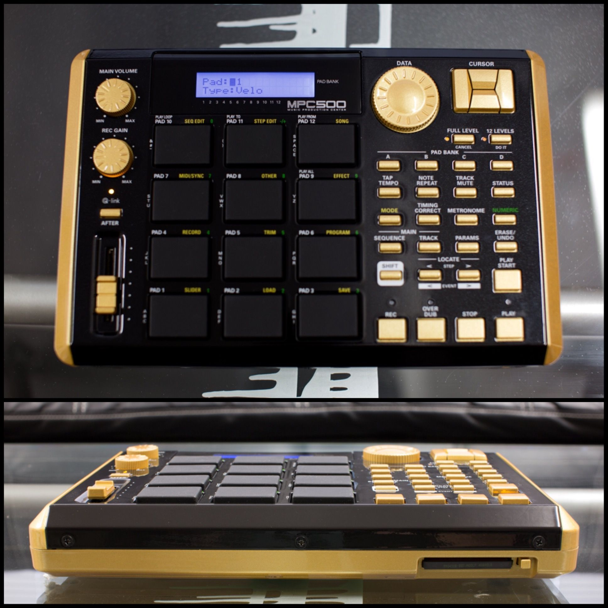 here is a custom akai mpc500 we did glossed black and gold custom drum. Black Bedroom Furniture Sets. Home Design Ideas