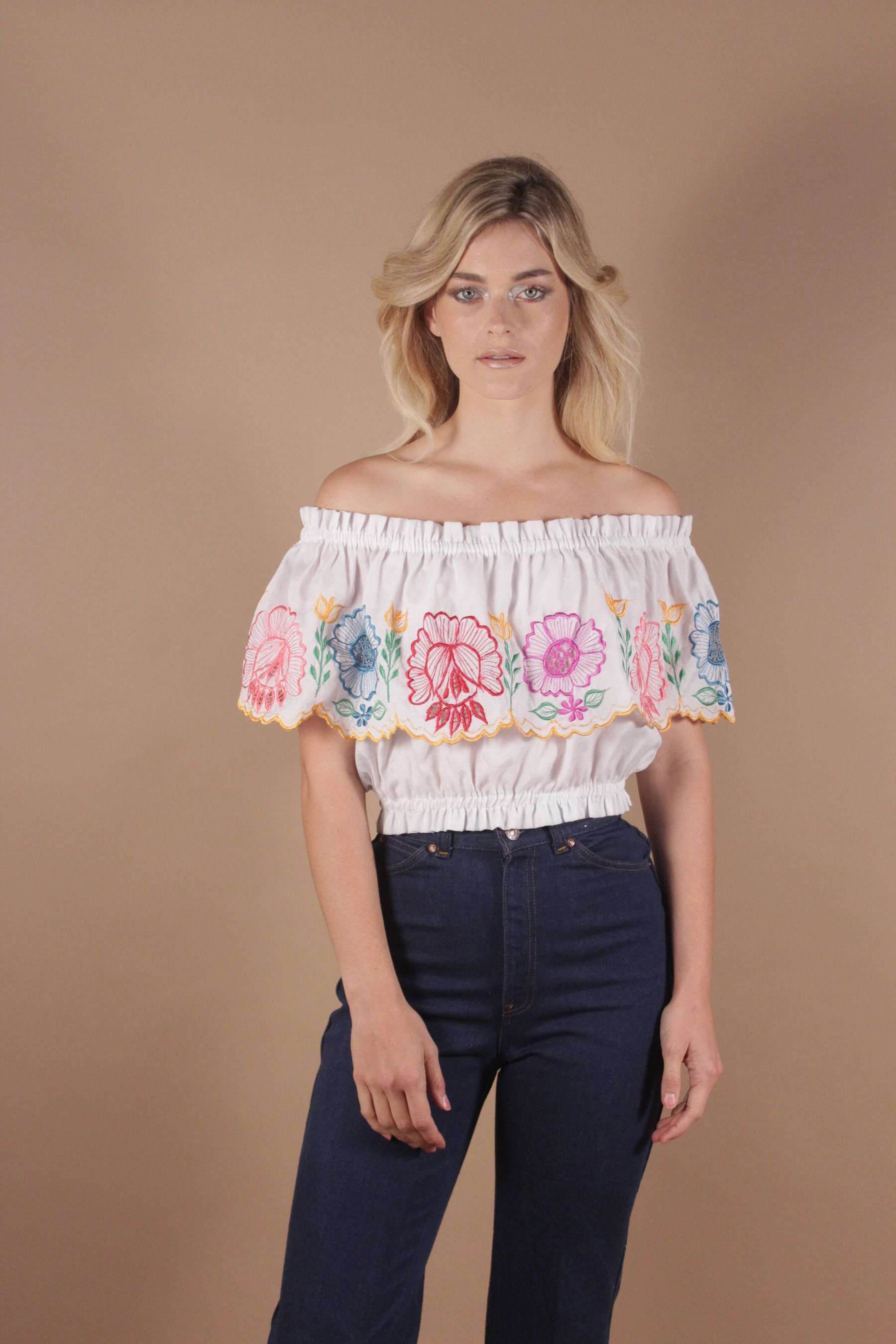 d5403659d23 Mexican Embroidered Blouse Off The Shoulder