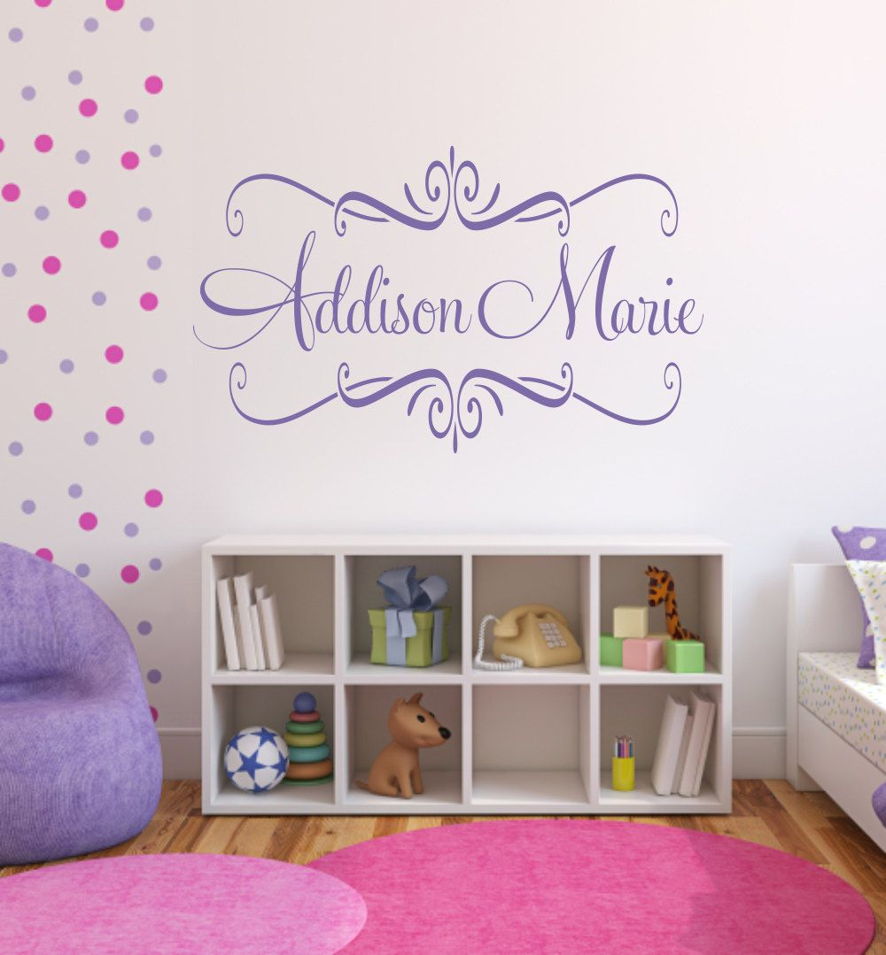 10 Shabby Chic Nursery Design Ideas: Personalized Name Wall Decal Elegant Frame Shabby Chic