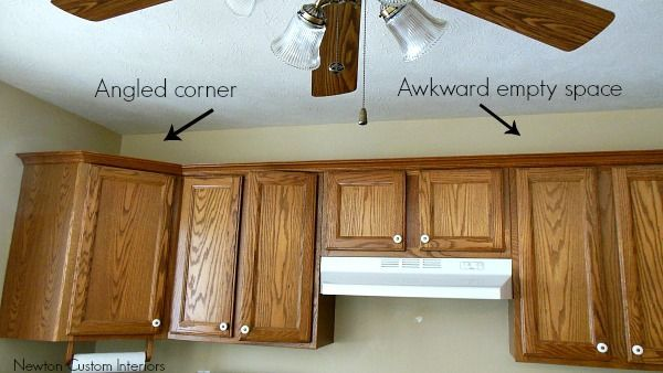 How to box in awkward empty space above kitchen cabinets ...