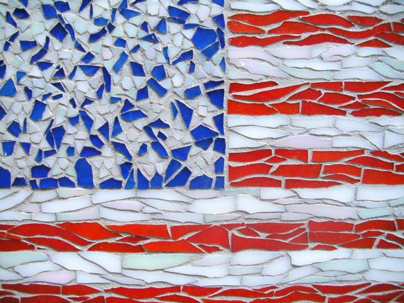 Mosaic American Flag Red White Blue Stars Stripes Glass Flag Art Mosaic Mosaic Tile Art