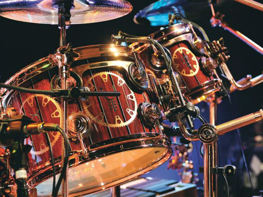 Neil Peart and his Steampunk Drum Set