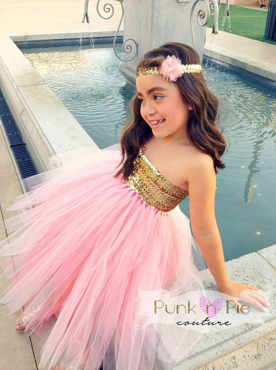4b5936097f5 Blush Pink and Gold Flower Girl Tutu Dress The by punknpiecouture ...