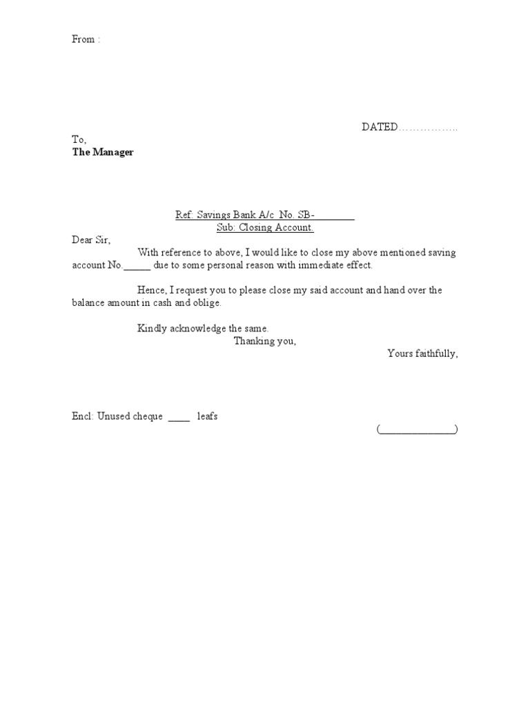 Closing Bank Account Letter Format Samples For Hotels Loan