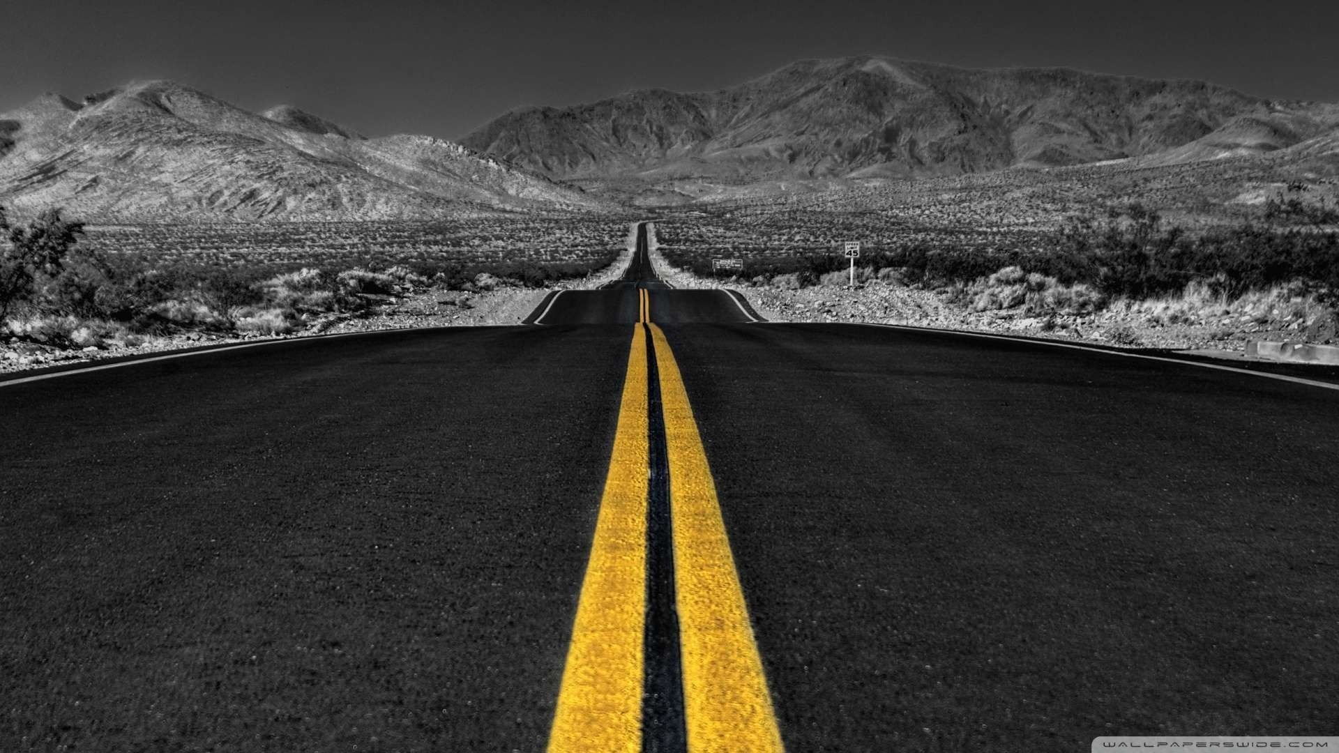 Danger road wallpaper 1920x1080 grayscale black and