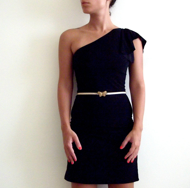 Black dress one shoulder cocktail black dress made to measure