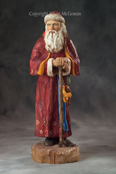 Hand carved and painted old world santa claus