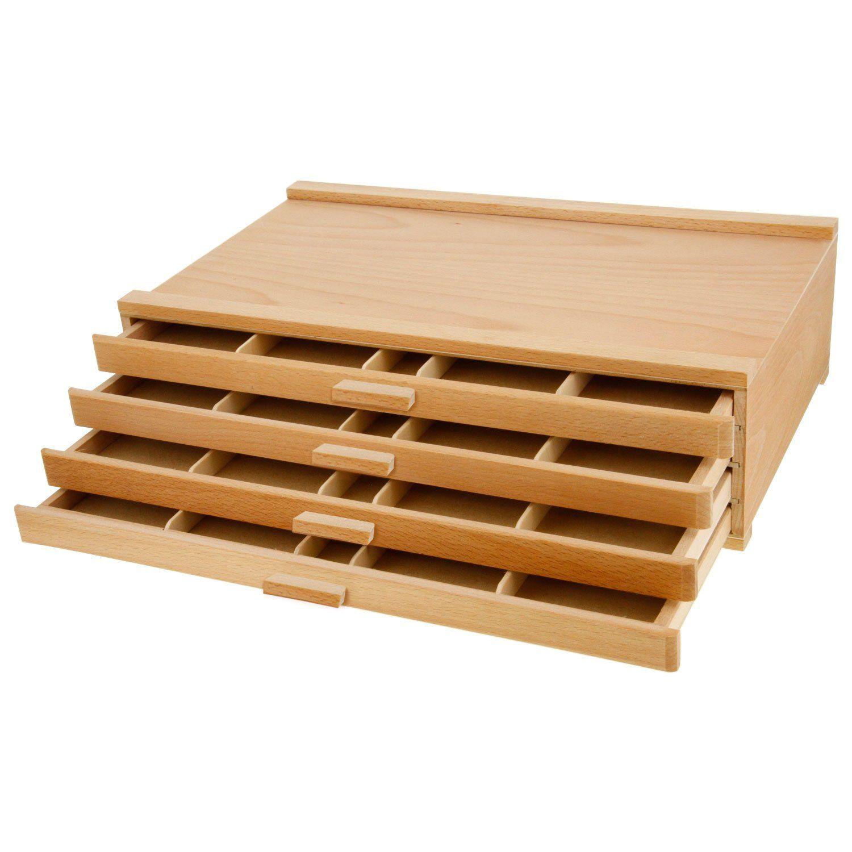 4 drawer wood artist supply storage box pastels pencils