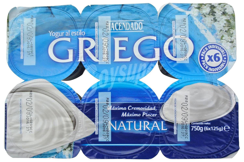 Hacendado Yogur Griego Natural Pack 6 X 125 G 750 G Recetas