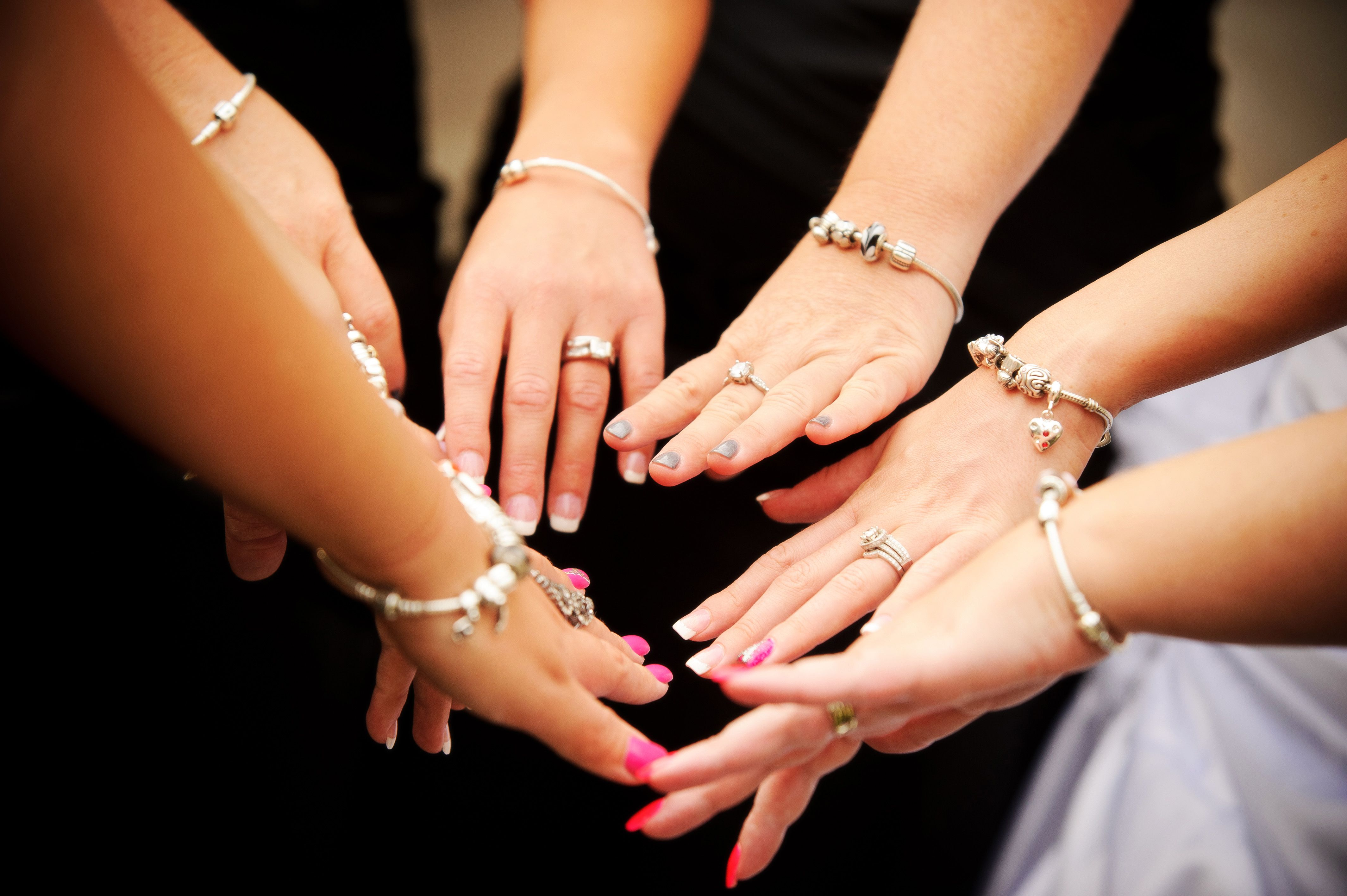 All my bridesmaids and our pandora bracelets i