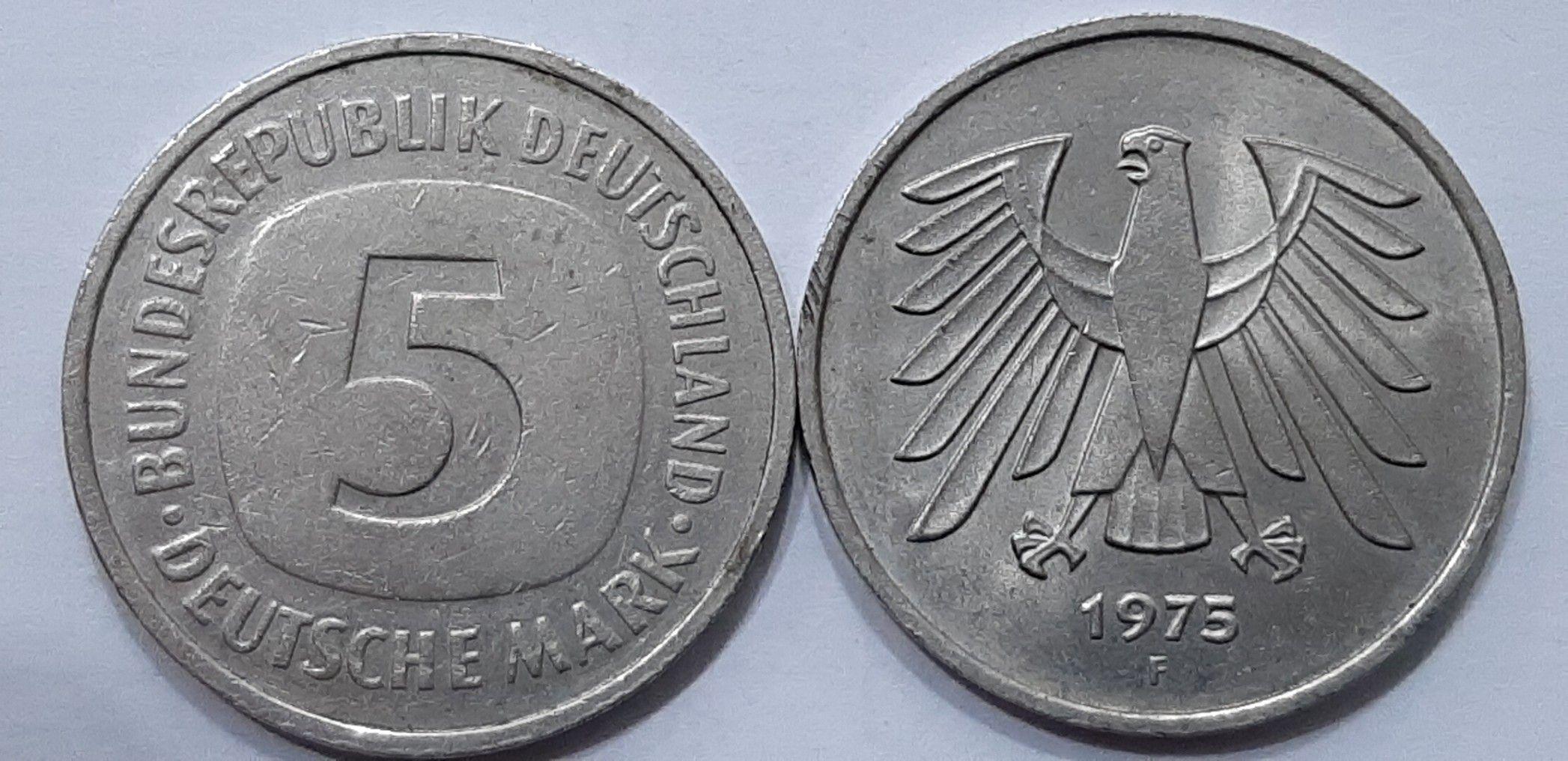 5 Deutsche Mark Bundesrepublik Deutschland 1975 Old