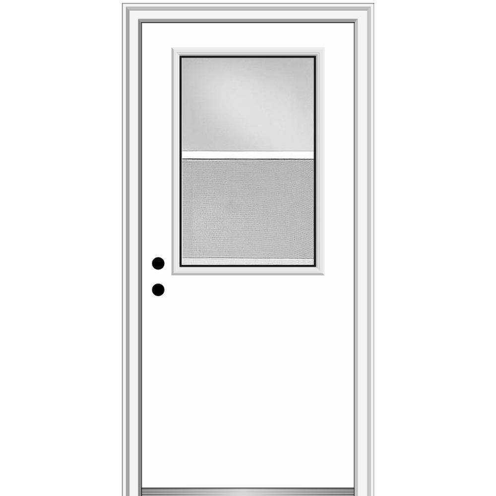 Mmi Door 34 In X 80 In Classic Right Hand Inswing 1 2 Lite Clear Vented Primed Steel Prehung Front Door On 6 9 16 In Frame Primed Doors Classic Doors Prehung Doors