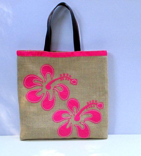 Pink hibiscus flowers, handmade jute beach bag 2017 , Hawaiian ...