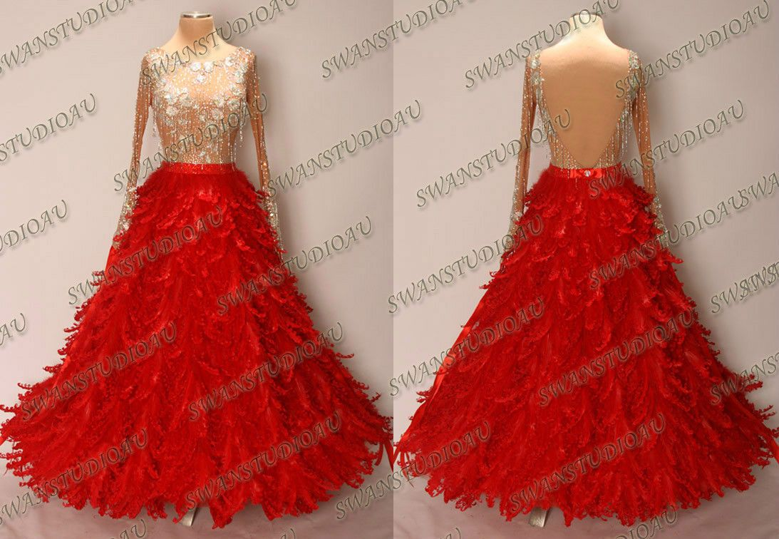 New Ready to Wear Red Organza Ballroom Dance Competition Dress Size 6 | eBay