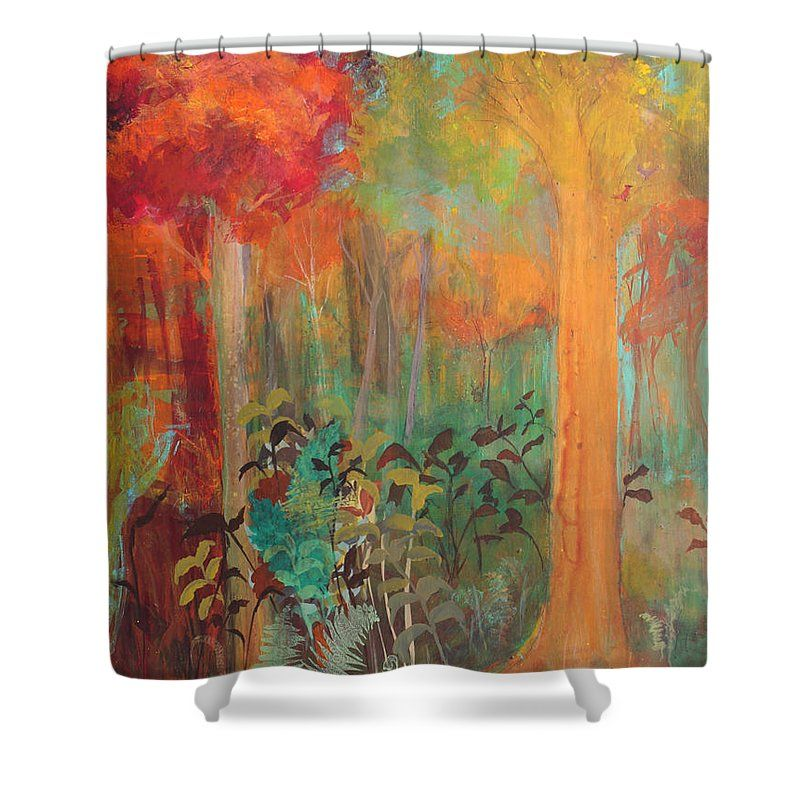Amazing Autumn Shower Curtain Featuring The Painting Enchantment In Autumn By Robinu2026