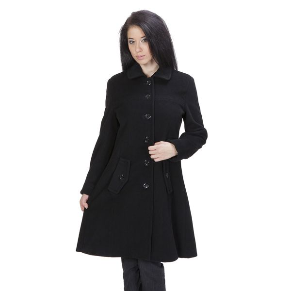Ramonti Women's Black Luxe Wool Swing Car Coat | Swings