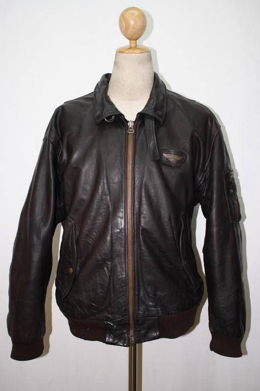 dea39325a REDSKINS Brown B-32 Leather Jacket MILITARY FLIGHT AVIATOR Size ...