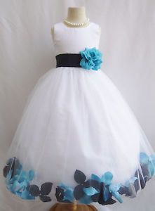 WHITE BLACK TURQUOISE BLUE BABY TODDLER WEDDING PAGEANT PARTY FLOWER GIRL DRESS 2470