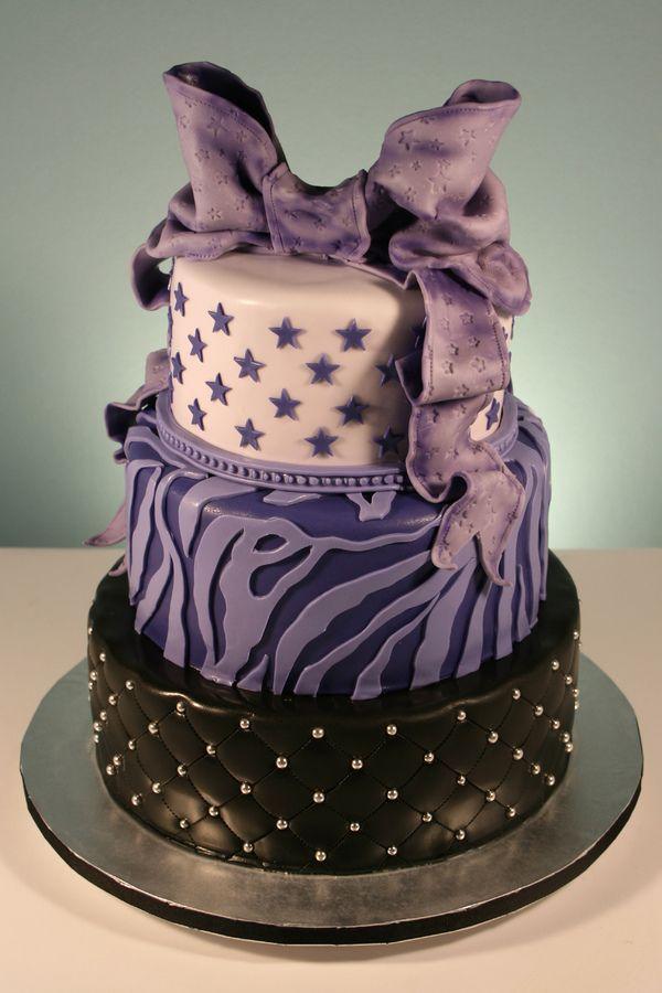 cake designs for a 13 year old girl purple stars zebra print