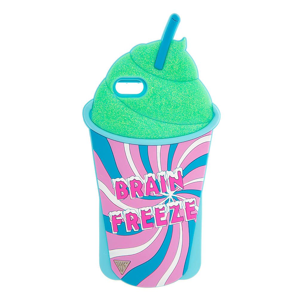 """<P>You won't get brain freeze from this frosty case. Shaped like a delicious frozen beverage, this Katy Perry iPhone 6 cover features a swirly cup that reads """"Brain Freeze"""" filled with iridescent green slushy. Part of the PRISM collection.</P><UL><LI>Exclusively by Claire's<LI>Measurements: 3 5/8""""L x 7 1/8""""H<LI>Fits iPhone 6<LI>Materials: Silicone</LI></UL>"""