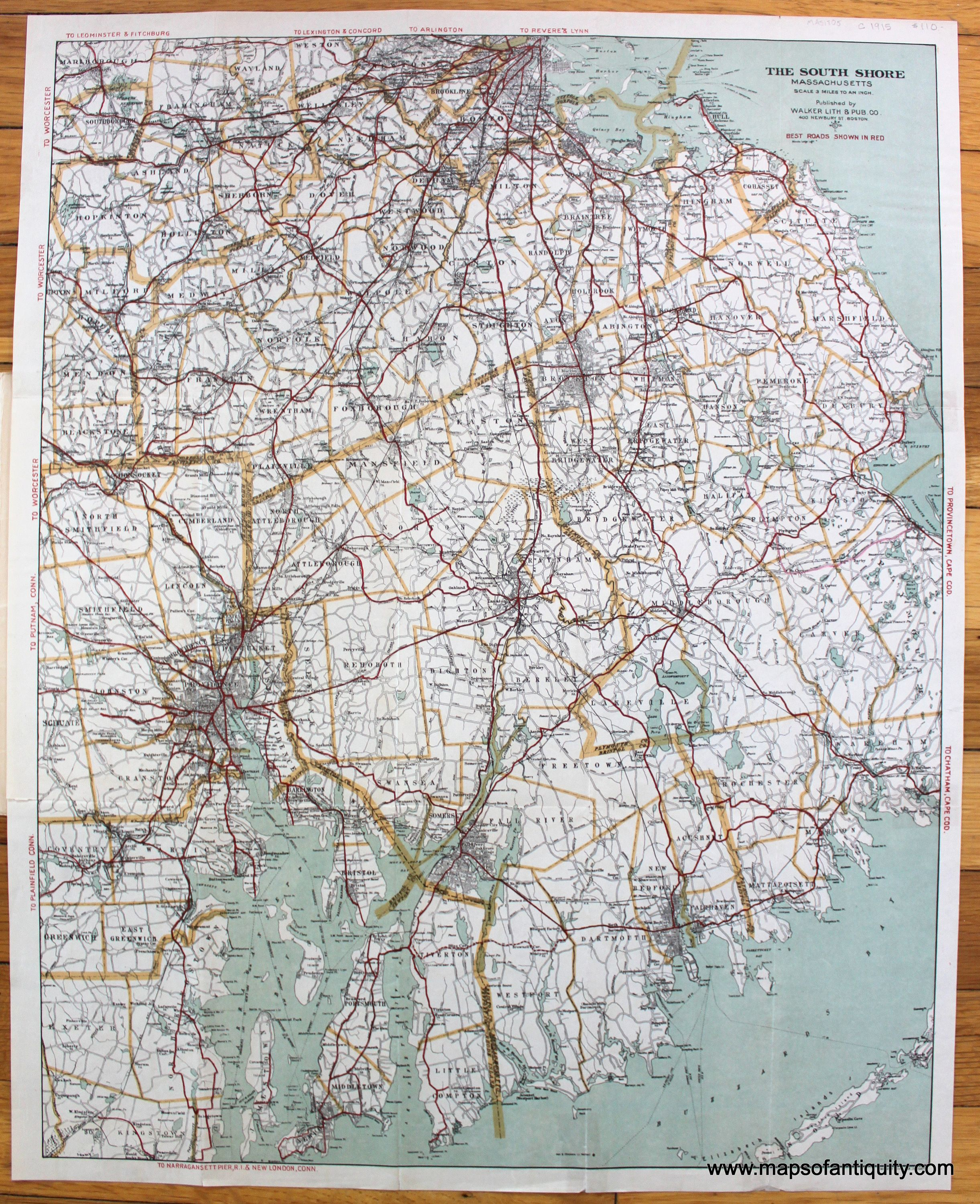 Antique C 1915 Road Map Of The South Shore And Part Of Norfolk