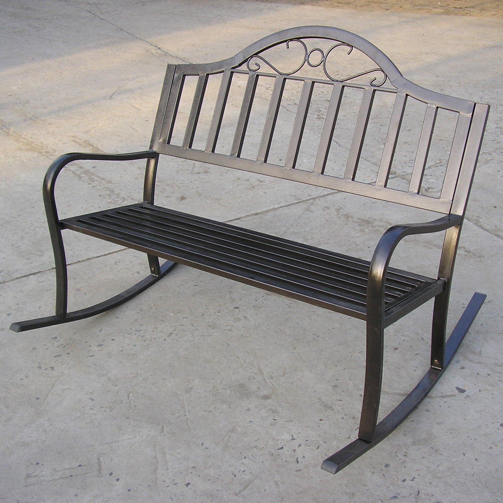 Oakland Living Rochester Tubular Iron Rocking Bench In Hammer Tone Bronze