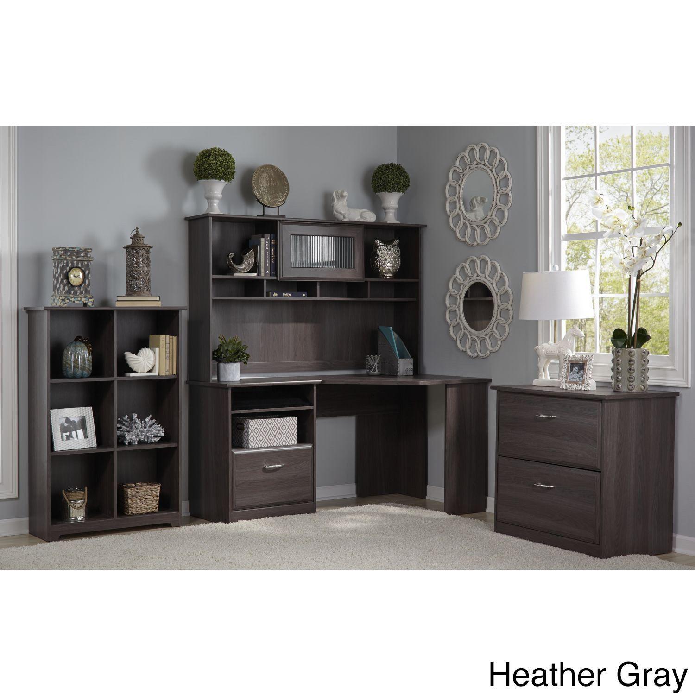 Bush Furniture Cabot Corner Desk With Hutch, Lateral File Cabinet